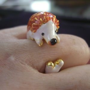 Baby Hedge Hog ring, hand enameled with love. 8